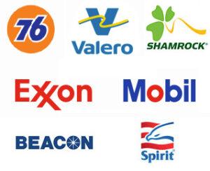 76, Valero, Shamrock, Exxon Mobil, Beacon, Spirit logos